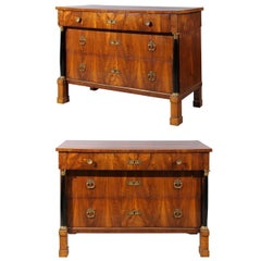Pair of Large Early 19th Century Italian Empire Walnut Commodes
