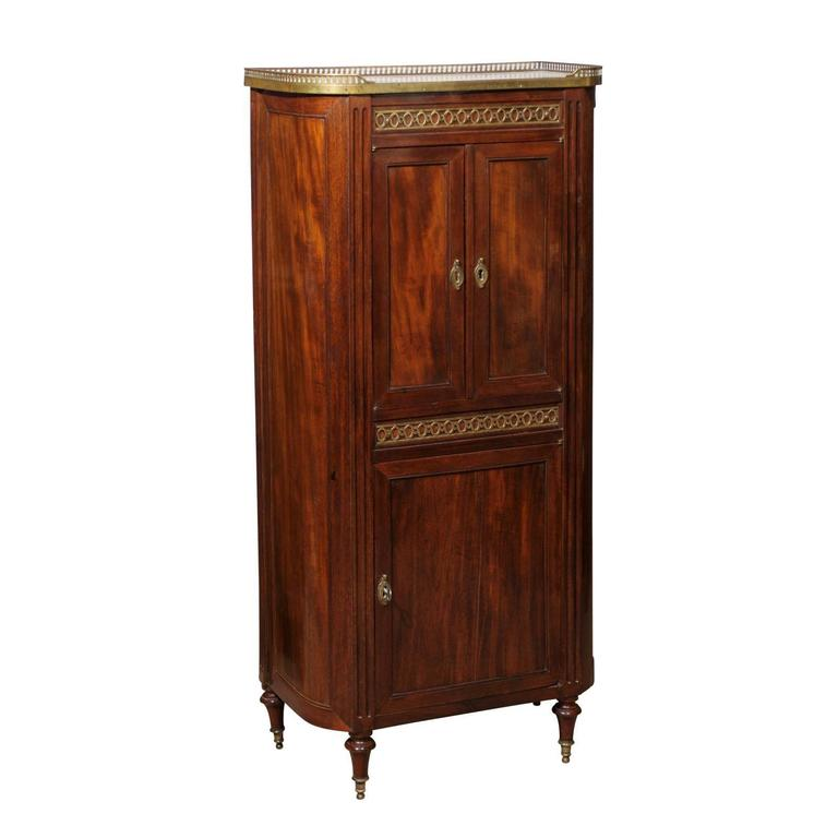 Louis XVI Mahogany Cabinet with Marble Top and Brass Gallery, France, circa 1800