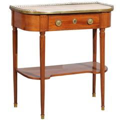 Louis XVI French Mahogany Dessert Console with Marble Top and Brass Gallery