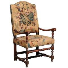 18th Century French Louis XIII Style Walnut Fauteuil in Tapestry Upholstery