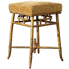 Gilt Metal Stool with Upholstered Seat