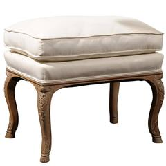 French Carved Walnut Upholstered Stool with Cushion from the Turn of the Century