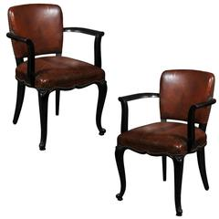Pair of French 1920s Art Deco Armchairs with Ebonized Wood and Original Leather