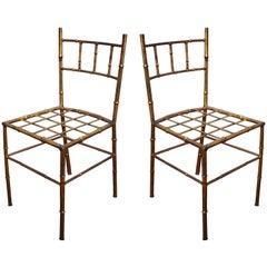 Pair of Petite Gilt Bamboo Style Children's Chairs