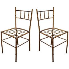 Pair of Petite Gilt Bamboo Style Chairs