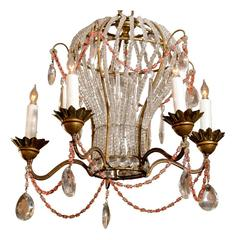 French Five-Light Balloon Shape Crystal and Glass Chandelier with Colored Beads