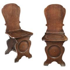Fine Pair of George II Oak Hall Chairs