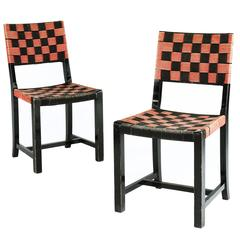 Pair of Red and Black Webbed Chairs