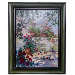 "Italian Renato Criscuolo ""A Corner of My Garden"" Painting oil on canvas"