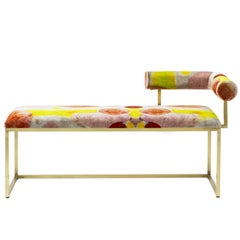 Awaiting - L Bench Printed Velvet and Brass