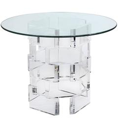 Chic Stacked Lucite Blocks Side Table