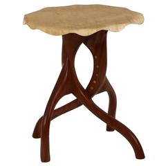Exceptional Organic Modern Sculpted Maple and Sapele Side Table