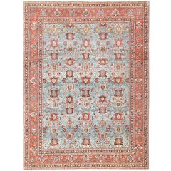 Light Blue Antique Persian Tabriz Oriental Rug