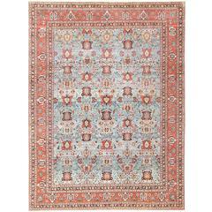 Light Blue Antique Persian Tabriz Oriental Rug
