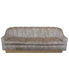 Vintage Graphic Black and Tan Sofa on Brass Base