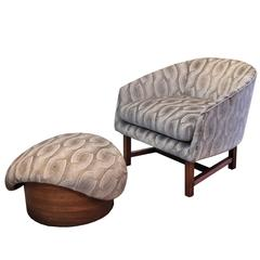 Mid-Century Modern Reading Chair and Ottoman with Walnut Detailing