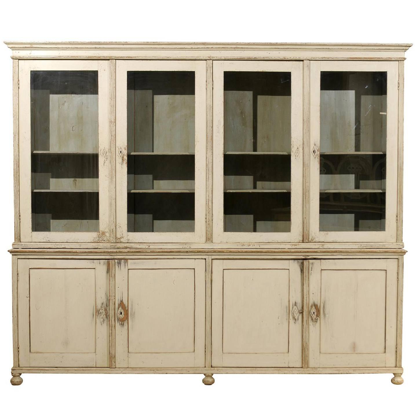 Large Vintage English Painted Wood Glass Door Cabinet At