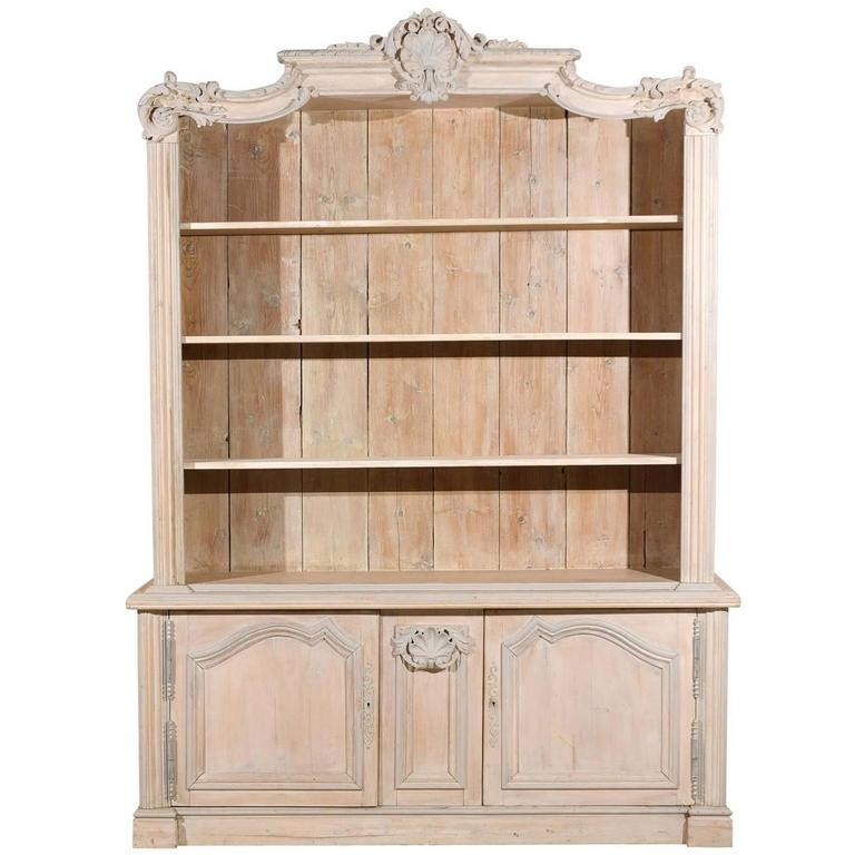 French Cabinet Bookcase Of Painted Wood With Richly Carved Pediment At 1stdibs