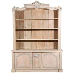 French Cabinet/Bookcase of Painted Wood with Richly Carved Pediment
