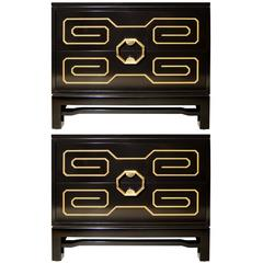 Pair of Black Lacquer and Brass Side Tables