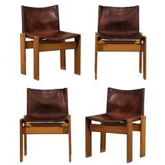 Set of Four Italian Tobia Scarpa Leather Seat Chairs