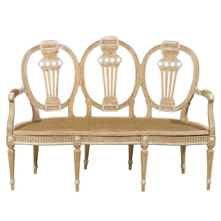 Italian Early 20th Century Cane Seat and Three-Chair Back Settee