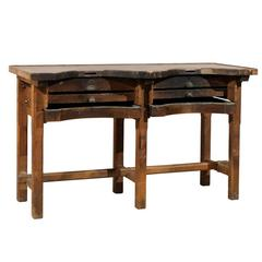 Dutch Wooden Vintage Jeweler's Work / Console Table