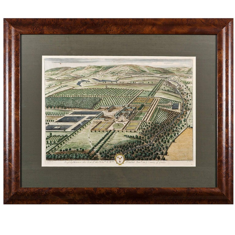 """Hand Colored Copper Engraving """"Ingleby Mannor"""" by Johannes Kip For Sale"""