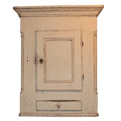 Grey Painted Antique Gustavian Style Wall Cupboard, 1820