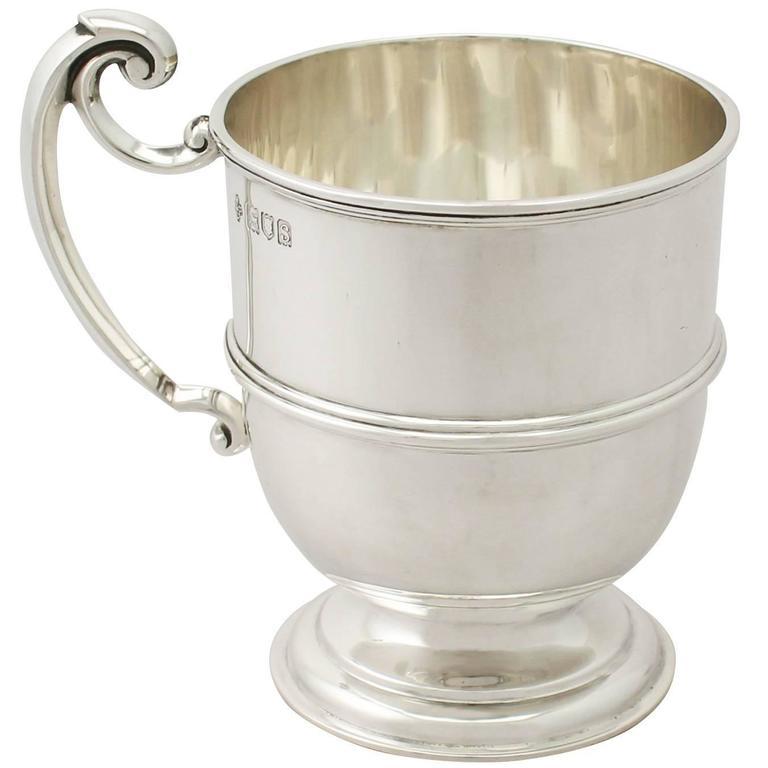 Sterling Silver Christening Mug, Antique George V For Sale