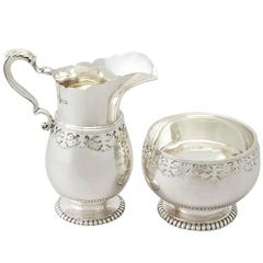 Sterling Silver Cream Jug / Creamer and Sugar Bowl, Antique George V