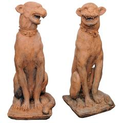 Pair of Italian 19th Century Terracotta Lifesize Panthers, circa 1880