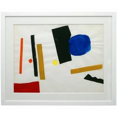 Abstract Watercolor Painting by Jacques Nestle, France, circa 1970