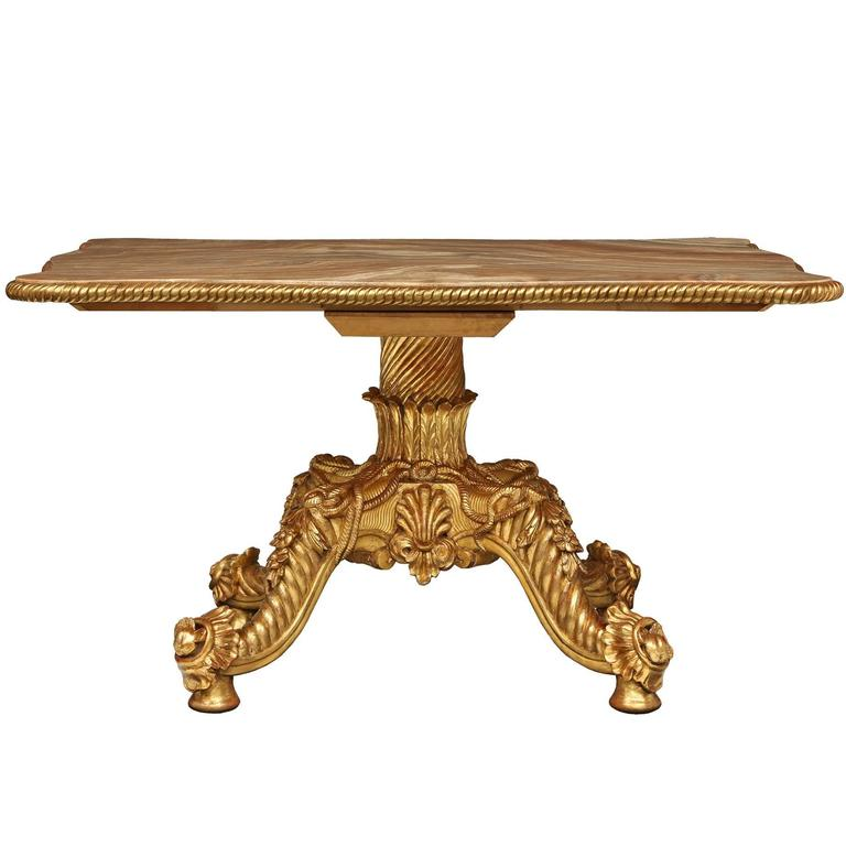 Italian 19th Century Giltwood and Onyx Center Table