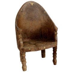 Important Carved Chair with Tiger and Mithun Head Decoration