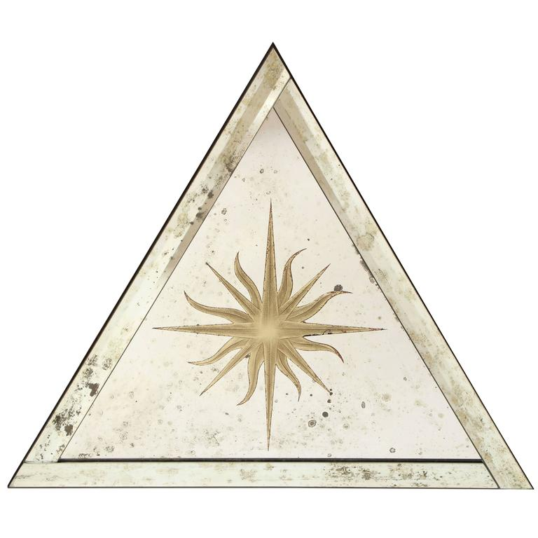 Triangular Verre Églomisé Mirror