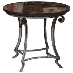 Black Granite and Iron Round Table