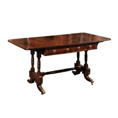 English Sheraton Mahogany Library Table, circa 1800s