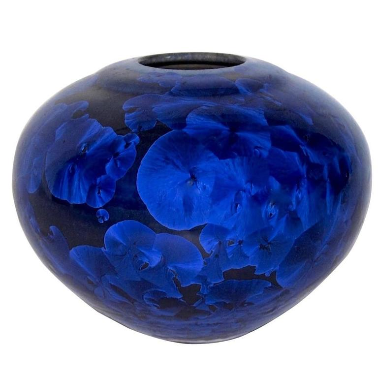 Vintage Buckingham Art Pottery Blue Crystalline Vase At 1stdibs