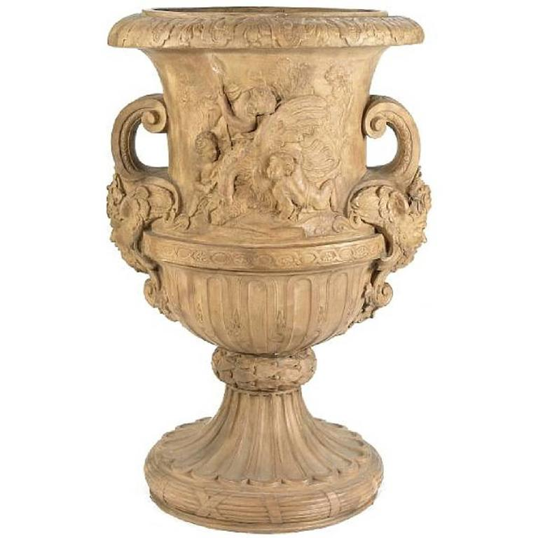 Massive Neoclassical Style Terracotta Garden Urn Campana Form 1