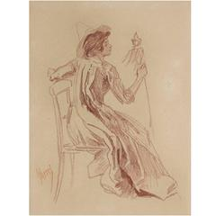 French Turn of the Century Crayon Drawing by Jules Cheret, circa 1890s