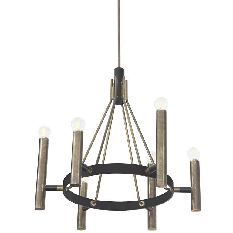 Stylish Chandelier In Iron And Bronze 1950s For Sale At