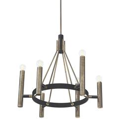Stylish Chandelier in Iron & Bronze 1950s