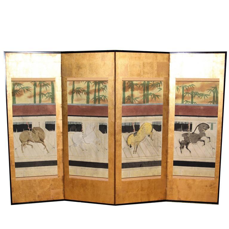 Hand-Painted Japanese Folding Screen 'Byobu' Ponies Painting, Watercolour