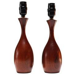 Pair of Petite Sculptural Danish Teak Tables Lamps