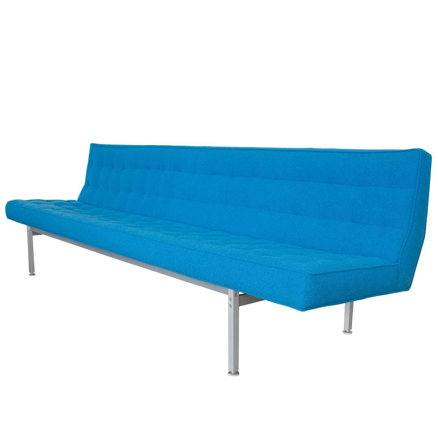Armless Aluminum Frame Sofa Attributed To Knoll At 1stdibs
