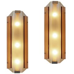 Rare pair of wall lights by Stilnovo