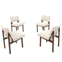 Set of Four Mid-Century Modern Side Chairs New Upholstery