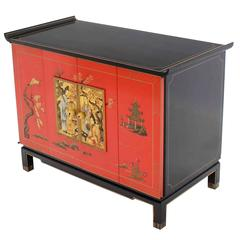 Black Red Lacquer Two Tone Cabinet Bachelor Chest Rolled Edge bracket Feet