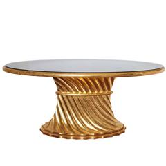 Limited Edition Walnut Table with Water Gilds in 24-Karat Gold